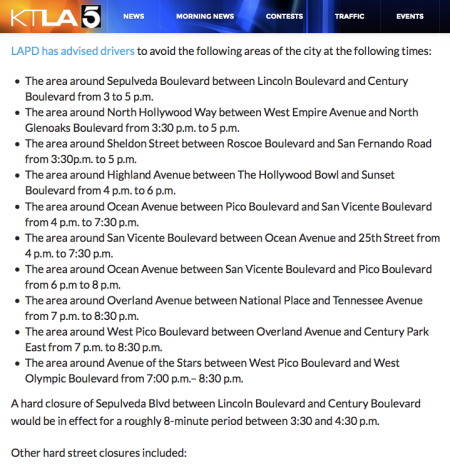 A screenshot of the KTLA article page on the road closures, which includes a bulleted list of street areas that will be closed and at between what time period for each
