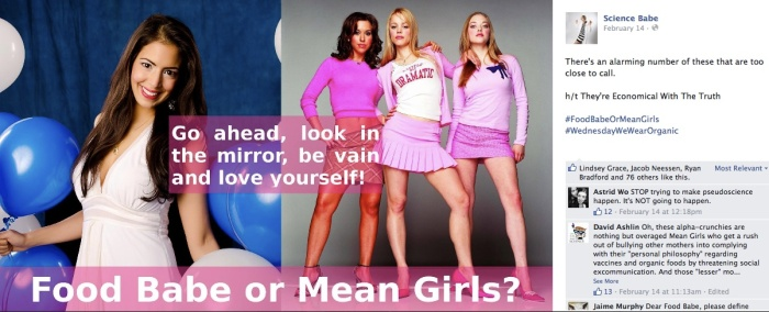 "Screenshot from Science Babe's Facebook page in which she compares the Food Babe to the charactesrs in the movie, ""Mean Girls"""