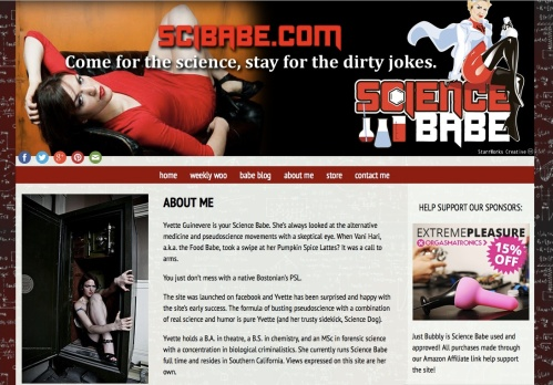 Screenshot of the SciBabe About Me page which features a photo of her wearing a tight red dress and black high heels, laying back across a black leather armchair, another photo of her seemingly wearing no clothes, coming out of a black vault, and an ad for a sex toy.