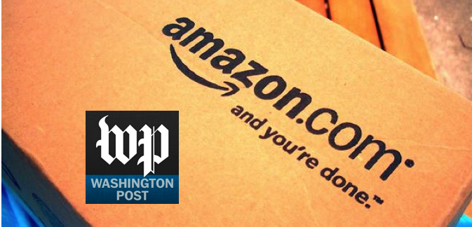 Washington Post logo superimposed on top of an Amazon.com box