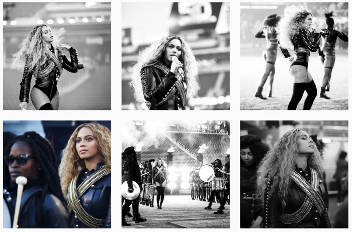 Screenshot of six Instagram photos of Beyonce practicing on the field before the Superbowl