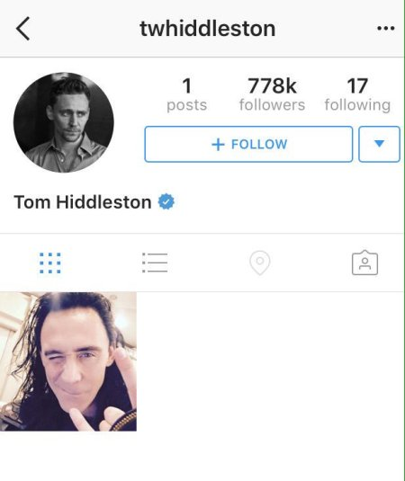 Screenshot of Tom Hiddleston's Instagram page with just 1 photo of him as Loki and 778,000 followers