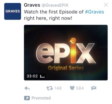 "Screenshot of the promoted tweet for the Graves TV show pilot, featuring the opening credits with the logo ""epix original series"""