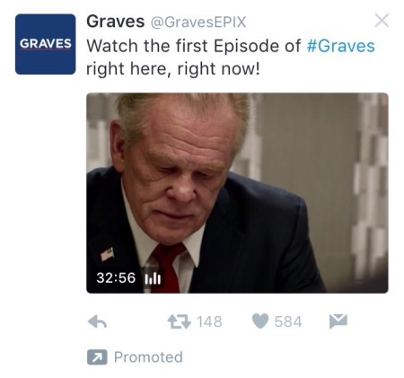 Screenshot of the promoted tweet for the Graves TV show pilot, featuring a close up of actor Nick Nolte