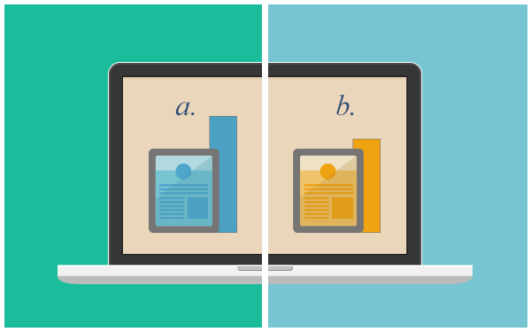 Image of a laptop screen with an A site design on one side and a B site design on the other